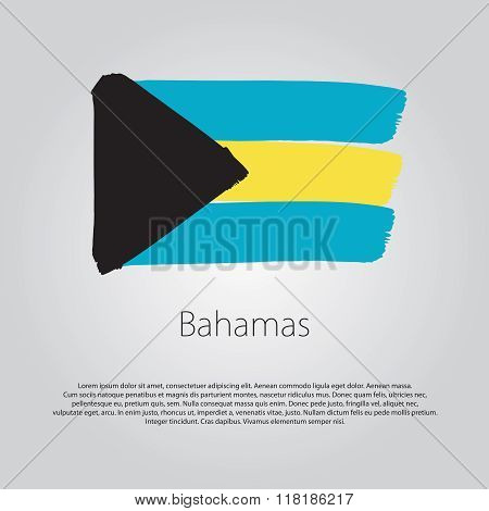 Bahamas Flag With Colored Hand Drawn Lines In Vector Format