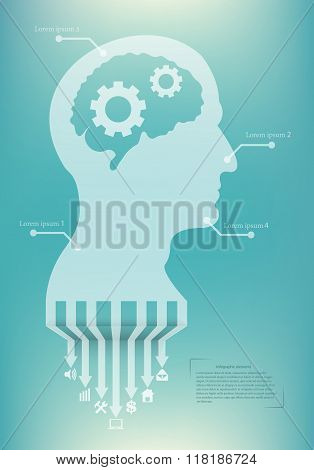 Abstract creative concept vector head siluet with gears. For web and mobile application isolated on