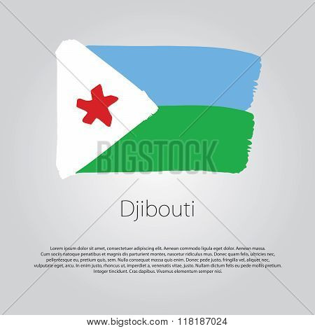 Djibouti Flag With Colored Hand Drawn Lines In Vector Format