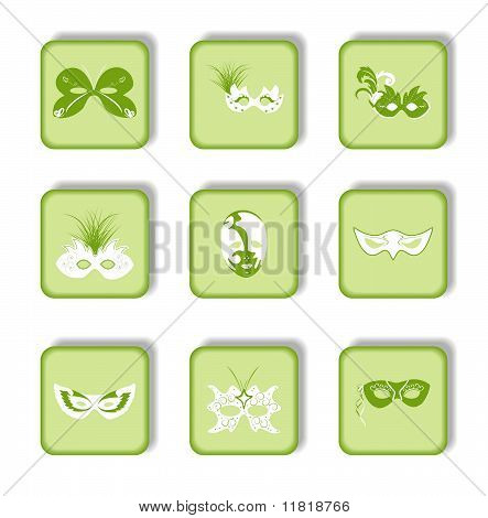 Set Icon Of Carnaval Mask