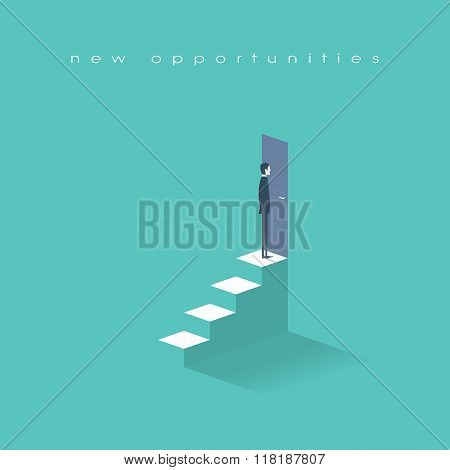 New opportunities concept vector background with businessman standing in front of door on top stairs