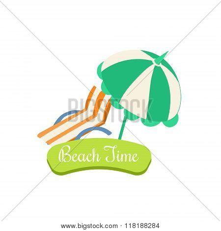 Beach Time. Summer Vacation. Vector Illustration