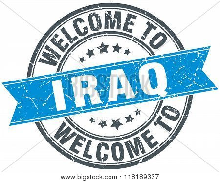 welcome to Iraq blue round vintage stamp