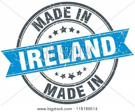 made in Ireland blue round vintage stamp