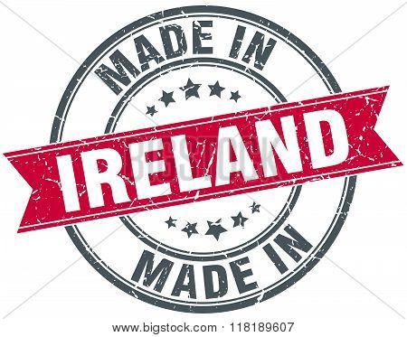 made in Ireland red round vintage stamp