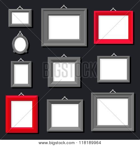 White Paper Frame Photo Picture Art Painting Decoration Drawing Symbol Template Icon Set Stylish Bla