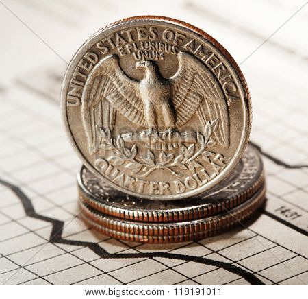 quarter dollar on newspaper chart