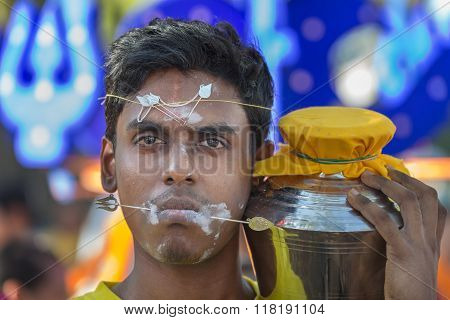 Georgetown, Penang, Malaysia - January 24, 2016 : Hindu Devotee Taking Part In The Thaipusam Festiva