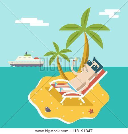 Cartoon Man Character Summer Travel Vacation Sea Island Mobile Ocean Sky Background Modern Flat Desi