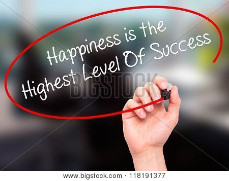 Man Hand Writing Highest Level Of Success With Black Marker On Visual Screen