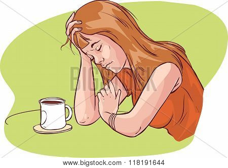 Green  Background Vector Illustration Of A  Tired Women