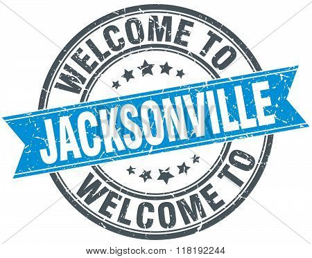 welcome to Jacksonville blue round vintage stamp