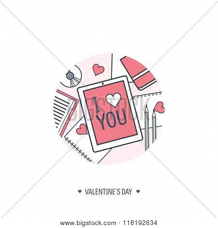Vector illustration. Flat background with tablet. Love, hearts. Valentines day. Be my valentine. 14