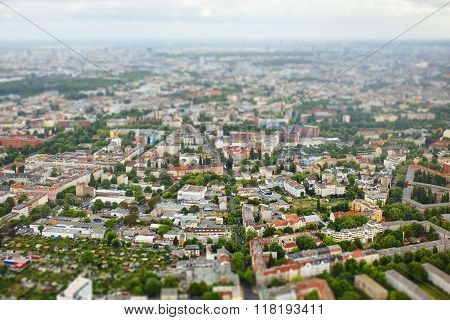 Tilt shift aerial view of Berlin