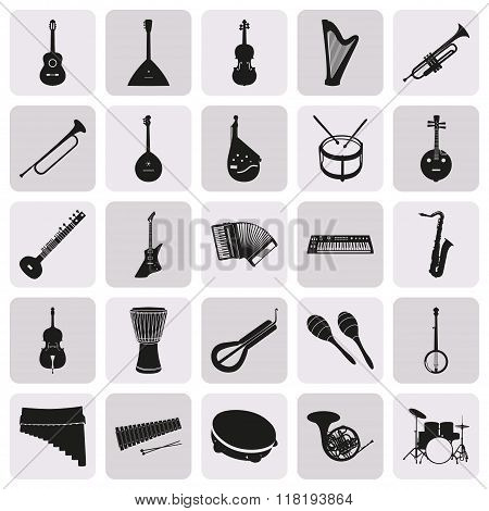 Simple Black Silhouettes Of Musical Instruments