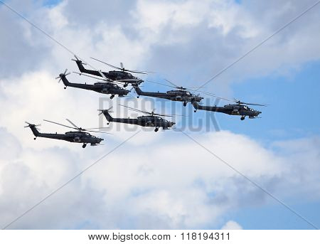 RYAZAN REGION  AUGUST 2: Perform flight by the modern russian attack helicopters Mi 28 - on August 2, 2015  in Ryazan region