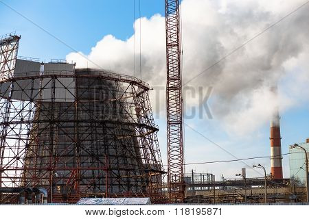 cooling tower of a combined heat and power plant