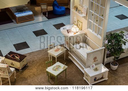 Khimki, Russia - February 13. 2016. Children's Furniture In Grand Furniture Shopping,  Largest S