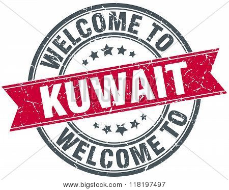 welcome to Kuwait red round vintage stamp