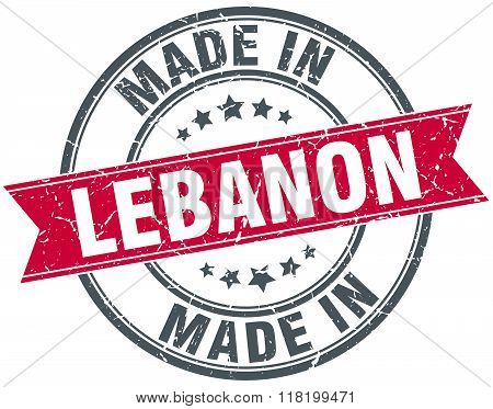 made in Lebanon red round vintage stamp