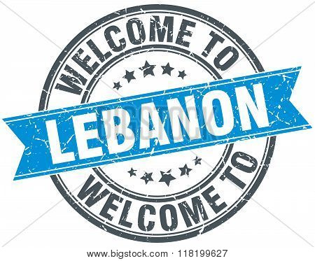 welcome to Lebanon blue round vintage stamp