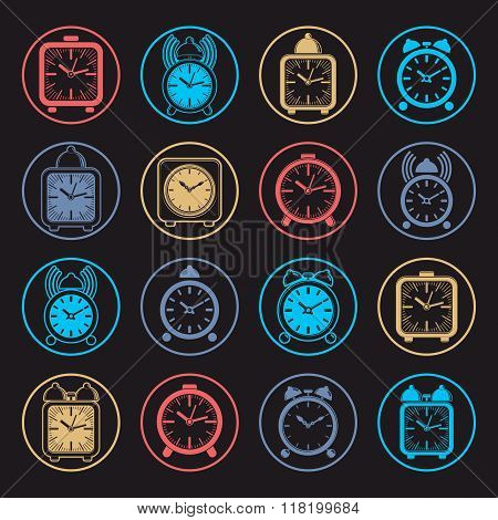 Simple Alarm Clocks With Clock Bell, Vector Wake Up Icons Collection. Graphic Design Elements, Time