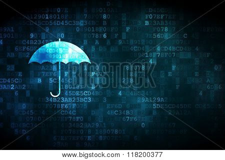 Security concept: Umbrella on digital background