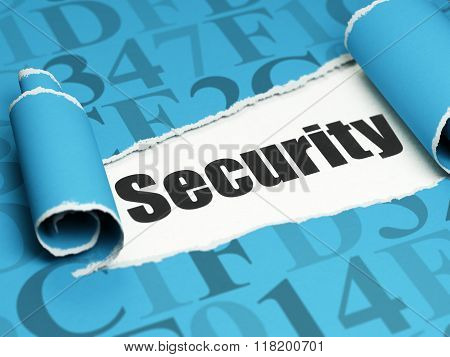 Security concept: black text Security under the piece of  torn paper