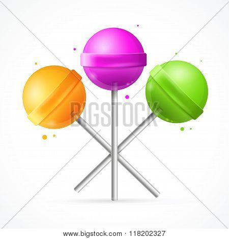 Glossy Round Colorful Lollipops Set. Vector