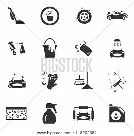 Car wash shower service icons set