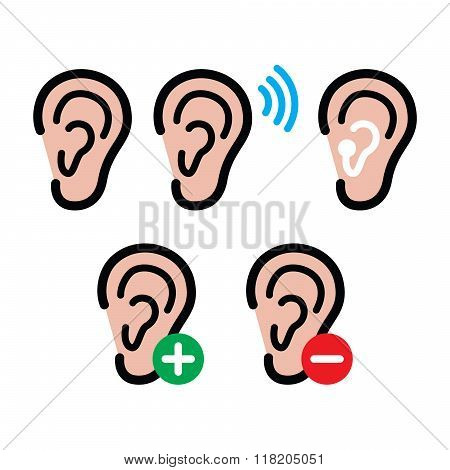 Ear hearing aid, deaf person - health problem icons set