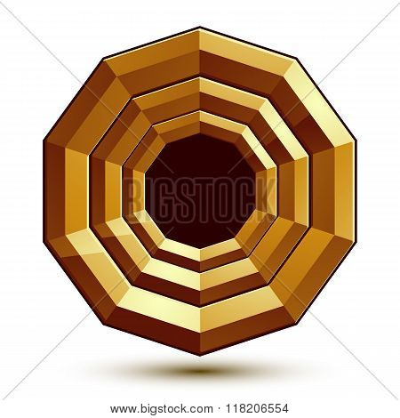 Sophisticated Round Vector Emblem, 3D Decorative Design Element, Clear Eps 8.