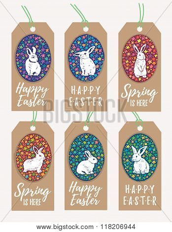 Set of Easter Gift Tags with Bunny Rabbit silhouette