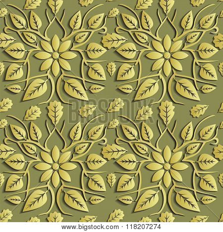 Seamless Abstract Illustration Of Nature. Figure 3D, Leaves, Flowers, Branches. Color Gold. Vector.