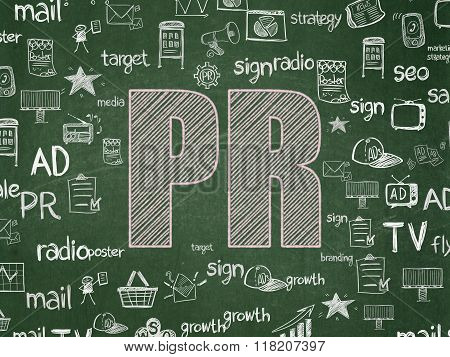 Advertising concept: PR on School Board background