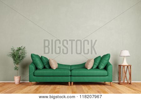 Green sofa in living room standing in front of a wall (3D Rendering)
