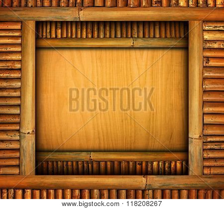 wood template with bamboo frame