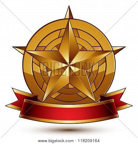 Heraldic golden symbol with stylized pentagonal star and red decorative curvy ribbon best for use in web and graphic design. Sophisticated gold ring isolated on white background.