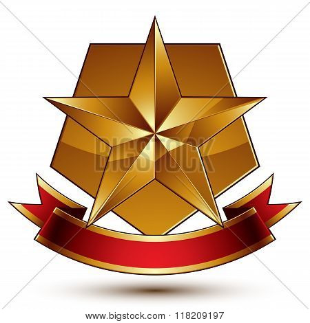 Vector glorious glossy design element luxury 3d pentagonal golden star placed on decorative blazon conceptual graphic coat of arms with wavy red ribbon.