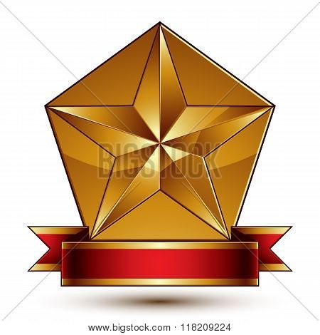 Vector glorious glossy design element luxury 3d pentagonal golden star placed on decorative blazon conceptual graphic coat of arms with wavy red ribbon