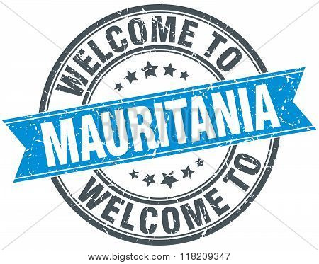welcome to Mauritania blue round vintage stamp