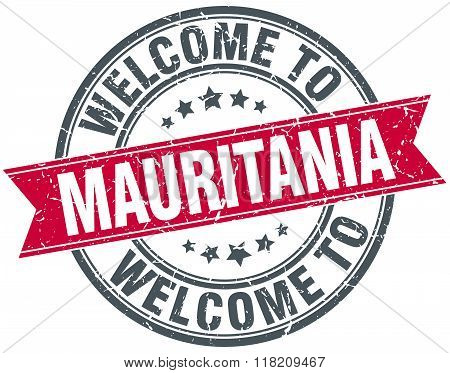 welcome to Mauritania red round vintage stamp