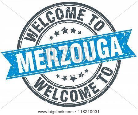 welcome to Merzouga blue round vintage stamp