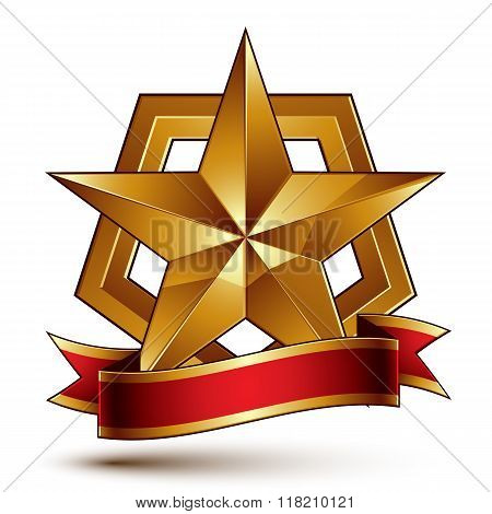 3d golden vector heraldic blazon with glossy pentagonal star best for web and graphic design. Decorative coat of arms with red wavy ribbon defense symbol.