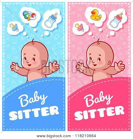 Two Vertical Flyer Of Babysitter With Cute Toddler And Baby Toys.