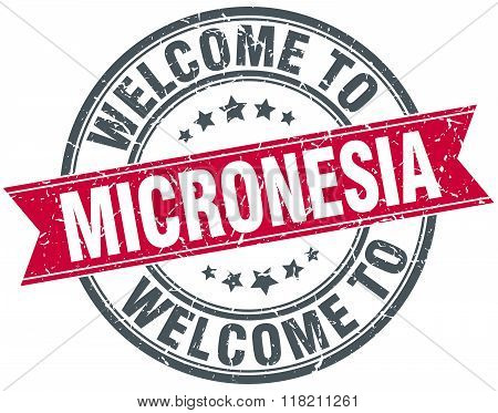 welcome to Micronesia red round vintage stamp