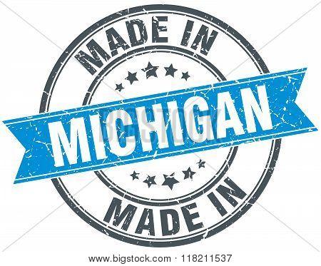 made in Michigan blue round vintage stamp