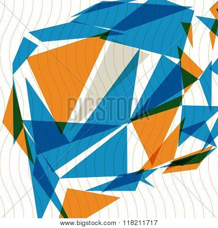 Colorful 3d spatial tech covering complicated op art background with smudge dots and geometric shapes eps10. Science and technology theme.