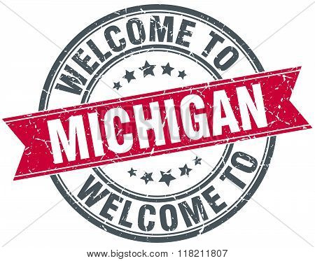 welcome to Michigan red round vintage stamp
