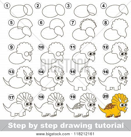 Triceratops. Drawing tutorial.